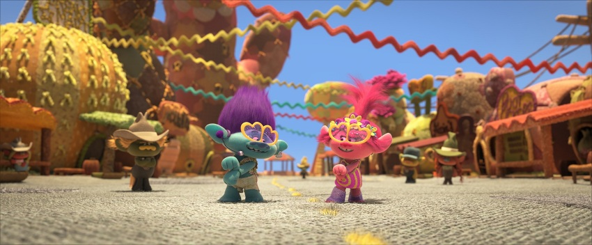 (from left) Hickory (Sam Rockwell, background), Branch (Justin Timberlake) and Poppy (Anna Kendrick) in DreamWorks Animation's Trolls World Tour, directed by Walt Dohrn.