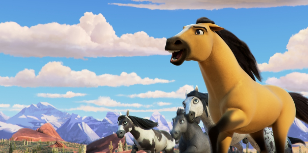 Spirit (right) and his herd in DreamWorks Animation's Spirit Untamed, directed by Elaine Bogan.