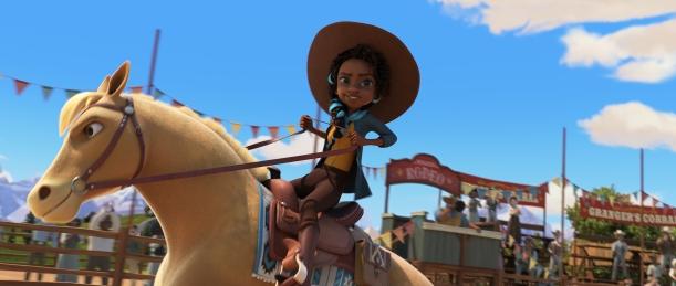 Pru Granger (Marsai Martin) riding Chica Linda in DreamWorks Animation's Spirit Untamed, directed by Elaine Bogan.