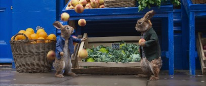 Peter Rabbit (James Corden) and Barnabus (Lennie James) in Columbia Pictures' PETER RABBIT™ 2: THE RUNAWY.
