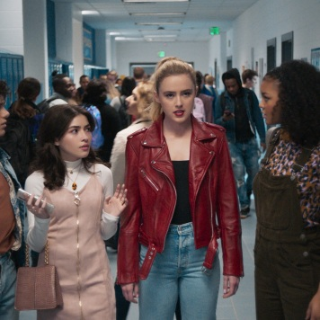 (from left) Josh Detmer (Misha Osherovich), Ryler (Melissa Collazo), The Butcher in Millie Kessler's body (Kathryn Newton) and Nyla Chones (Celeste O'Connor) in Freaky, co-written and directed by Christopher Landon.